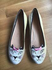 Charlotte Olympia 'Pretty Kitty' Flats White Velvet UK 4.5 / EU 37.5 BRAND NEW