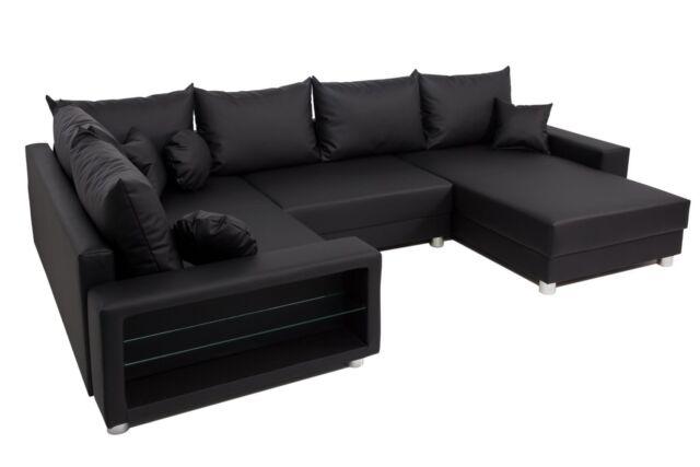 vicco sofa wohnlandschaft ecksofa colorado led u form pu leder schwarz couch for sale online ebay