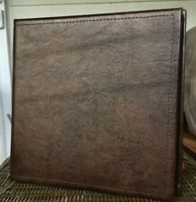 Smooth Dark Chocolate Cowhide Leather Covered 2 3 Ring Binder Snakeskin Lining