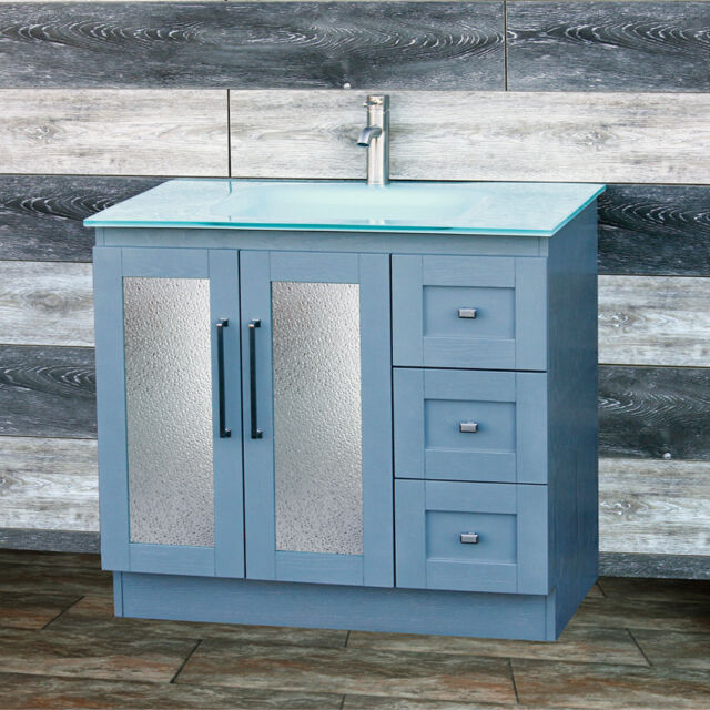 White Oak Vanity 36 Inch Solid Surface