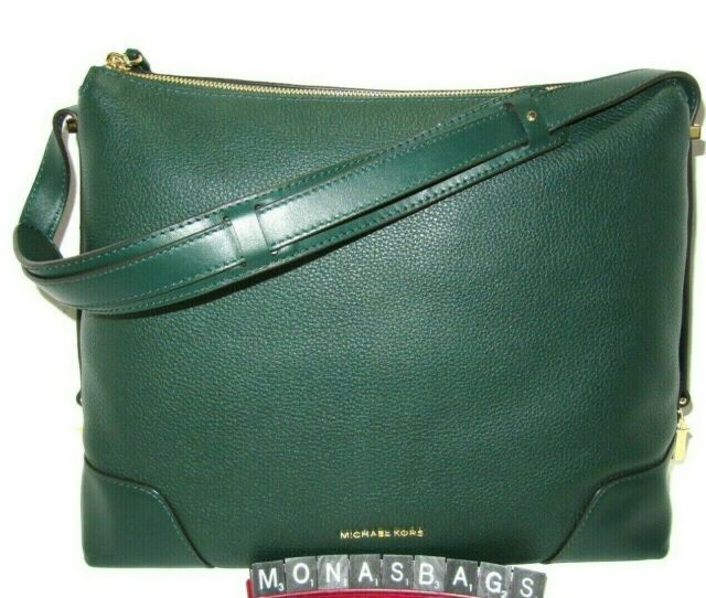 36d044649880 Michael Kors Racing Green Pebbled Leather Crosby Large Shoulder Bag New NWT  $298