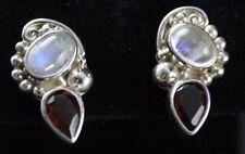 Sajen Rainbow Moonstone Red Garnet Post Earrings Sterling Silver .925