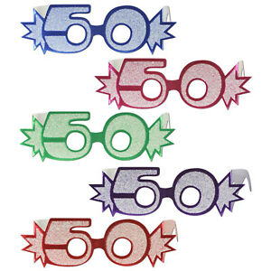 50TH-BIRTHDAY-AGE-GLITTERED-FOIL-SPECTACLES-5-COLOURS-PARTY-GLASSES