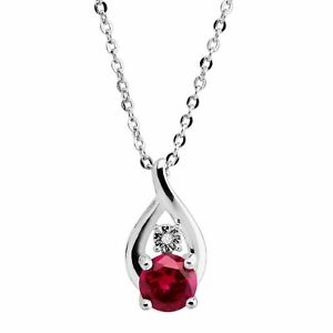 Created Ruby Swirl Pendant with Diamond in Sterling Silver, 18