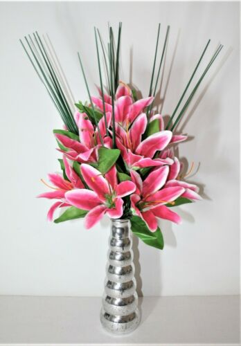 CERISE TIGER  LILY  ARTIFICIAL FLOWER ARRANGEMENT SPRAY IN VASE DISPLAY.