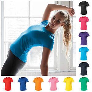 Senoras-Fitness-Running-Manga-Corta-T-Camiseta-Top-Gimnasio-Deportes-Yoga-Respirable