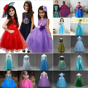 94857c31b0 Details about Toddler Kids Girl Frozen Anna Elsa Princess Party Fancy Dress  Up Cosplay Costume