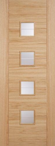 Vancouver Internal Oak Pre Finished Glazed 4L Brilliant Cut Clear Glass Door