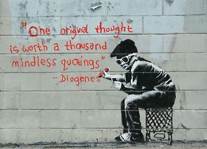 "Banksy, Diogenes, Graffiti Art, Giclee Canvas Print, 8""x11"""