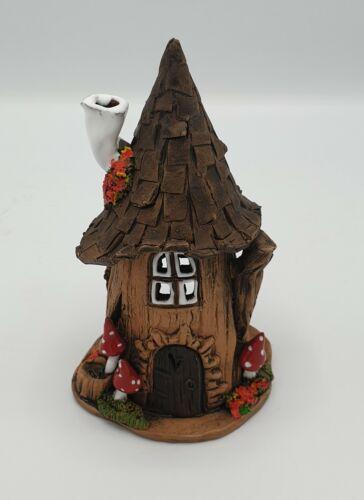 Räucherhaus Lichthaus Keramik Dekoration Haus rund weißer Schornstei Handarbeit