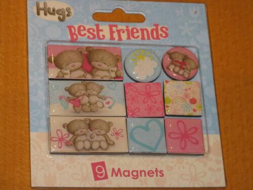 HUGS BEST FRIENDS MAGNETS X 9 NEW ON CARD