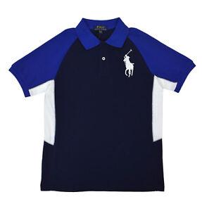 e2b81f0c7c Polo Ralph Lauren Boys Blue Multi Colorblock Polo Shirt Sz L Large ...