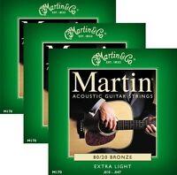 3 Sets Of Martin Model M170 Extra Light 10-47 Bronze 80/20 Acoustic Guitar Strin on sale