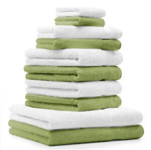 Betz-Lot-de-10-serviettes-Classic-Premium-vert-pomme-amp-blanc