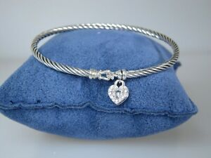 DAVID-YURMAN-3MM-HEART-LOCK-CABLE-STERLING-SILVER-DIAMOND-BANGLE-BRACELET-MED