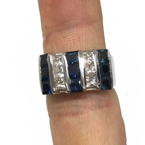1.50 Carat Princess cut diamond and blue sapphire Cocktail Ring 14k White Gold