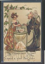1911 New Year picture postcard artist signed HBG Georgetown KY flag cancel