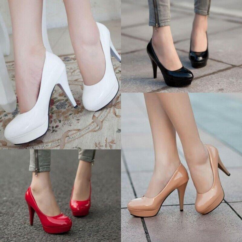 New Fashion Womens Patent Leather Platform High Heel Pumps Formal Dress Shoes