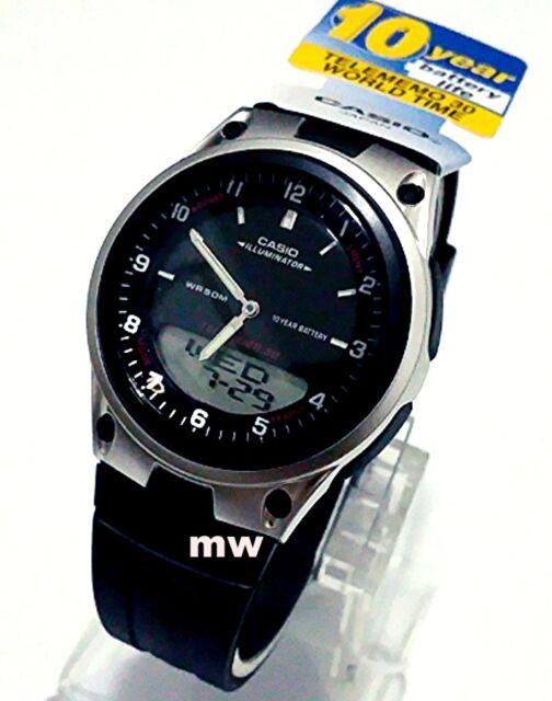 Casio AW-80-1AV Sports Analog Digital Databank World Time Black Rubber Men Watch