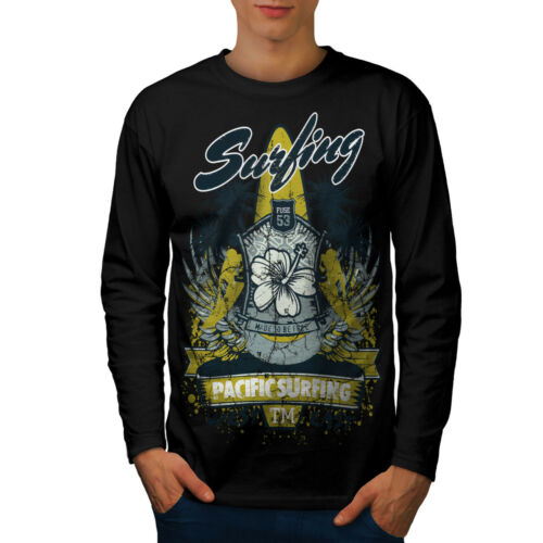 Pacific Surf Vacanza Uomini Manica Lunga T-shirt Nuovewellcoda