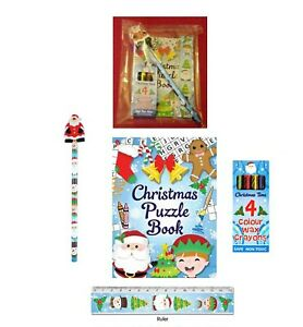Pre-Filled-Christmas-Party-Bag-4-Toy-Fillers-Puzzle-Book-Ruler-Crayon-Pencil