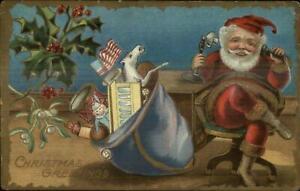 Christmas-Santa-Claus-on-Telephone-c1910-Postcard