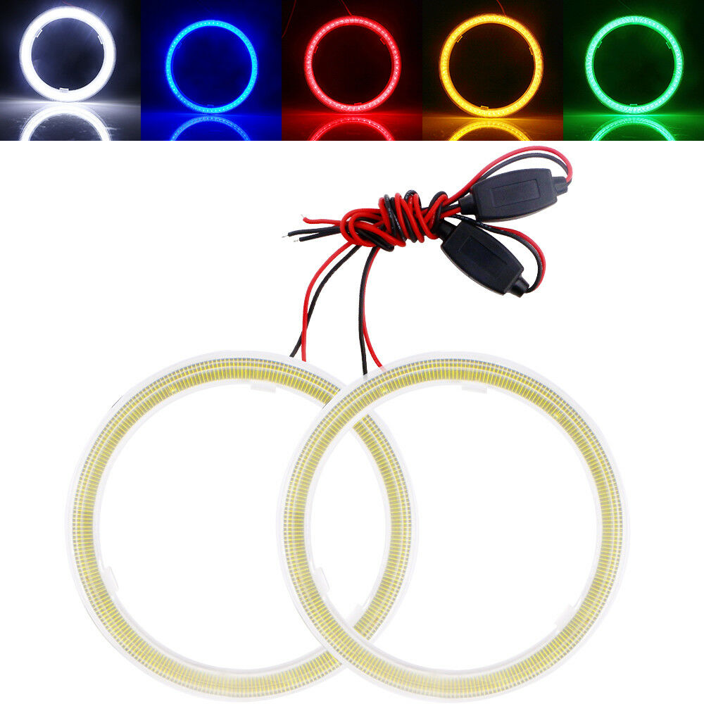 1 Pair Angle Eyes Led Ring DRL Halo Ring 60mm 70mm 80mm 90mm 100mm Angel Eyes COB Chips Headlight DRL for Motorcycle Car 70mm