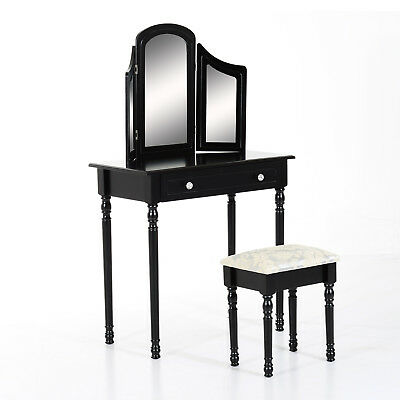 Wood Dressing Table Classic Vanity Set w/ Stool Makeup Mirror 2 Drawers