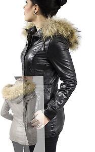 Damen-Ledermantel Echt-Fell-Kapuze Echt Leder SERANA in grau od. schwarz, XS-XXL