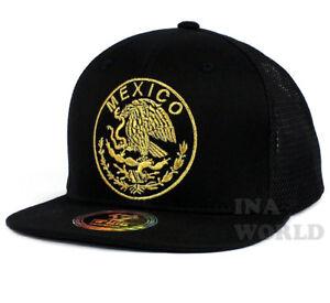 2707d24a7b2e6 MEXICAN hat cap Mesh Snapback MEXICO Federal State Logo Flat bill ...