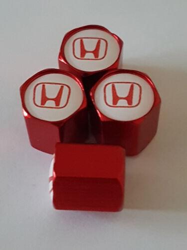 HONDA White Top Rosso Auto Ruota in Lega Valvola Polvere Tappi tutti i modelli NSX JAZZ CIVIC