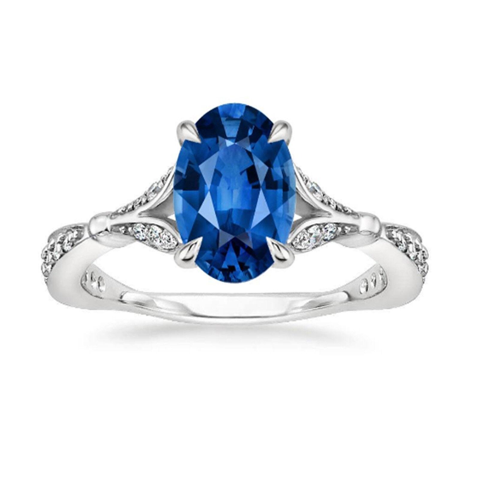 2.56Ct Oval Cut VVS1 Diamond bluee Sapphire Engagement Ring 14K White gold Size 6