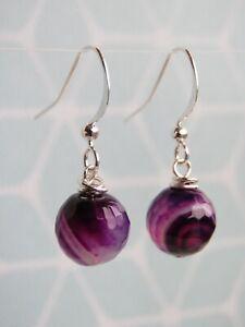 Silver Plated Purple Agate Semi Precious Stone Hook Earrings (mx63)