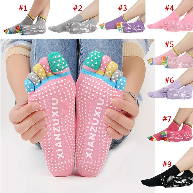 New Women Socks Anti-slip Fingers 5 Toes Cotton Socks for Pilates Massage Yoga