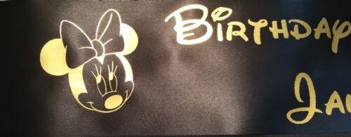Personalised Minnie Mouse Sash Ribbon Rhinestone Option Birthday Gift