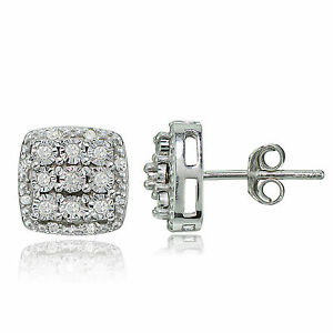 Sterling-Silver-0-25ct-TDW-Diamond-Miracle-Set-Cluster-Square-Earrings