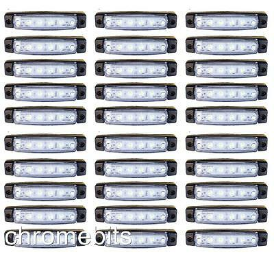 50 pcs WHITE 24V 6 LED Side Rear Marker Indicators Lights VOLVO DAF MAN SCANIA