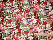 Hot Chocolate Peppermint Gingerbread Marshmallow Christmas Fabric by the 1/2 Yrd