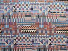 ST D30 AZTEC SQUARES DESIGN TAPESTRY BLUE ORANGE CURTAIN BLINDS CUSHION FABRIC