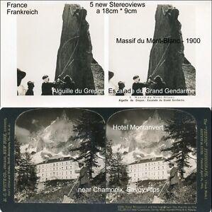 5-Stereoviews-von-Frankreich-France-ca-ab-1900-Mont-Blanc-Hotel-Montanvert