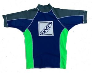 SMP-Mens-Retro-90s-Blue-Short-Sleeve-Rash-Vest-Size-L-Rashie-Swim-Surf-Beach