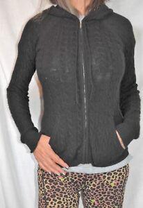 Aqua-Brand-Womens-XS-Small-100-Cashmere-Sweater-Full-Zip-Hoodie-cardigan-BLACK