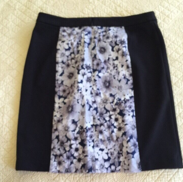 Laundry Womens Ink Blot Navy bluee Floral Skirt Size 8