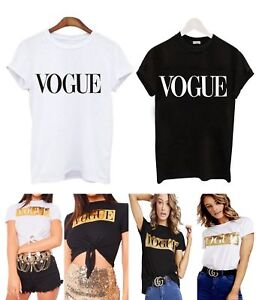 New Womens Ladies Black Vogue Casual T shirt Slogan Summer Print 8-26