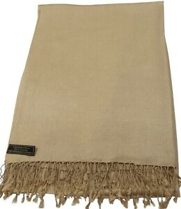 Light Gold Solid Colour Nepalese Shawl Scarf Wrap Stole Pashmina CJ Apparel NEW