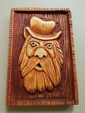 Green Man Pagan Spirit of Forest Hand Made Wood Carving 9,5 x 14,5cm