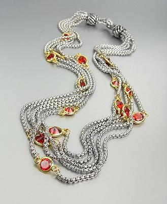 GORGEOUS Silver Box Chain Cables Pink CZ Crystals 5 Strands Magnetic Necklace