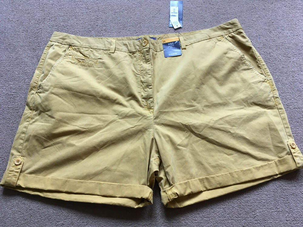 Bnwt M&s Collection Jaune Moutarde Short Chino Taille 24