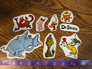 Dr-Seuss-fabric-Iron-On-Appliques-style-4-Grinch-Horton-Lorax-Green-Eggs-Ham