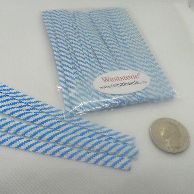 """won/'t rip or pull off 100pcs Plastic//Paper Blue Stripe 4/"""" x 1//4/"""" Twist Ties"""